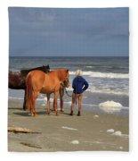 A Windy Day At Hunting Island Beach Fleece Blanket