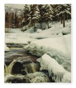 A Winter Landscape With A Mountain Torrent Fleece Blanket