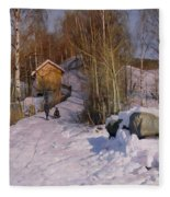 A Winter Landscape With Children Sledging Fleece Blanket