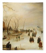 A Winter River Landscape With Figures On The Ice Fleece Blanket