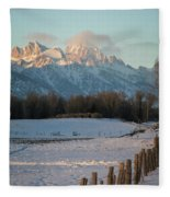 A Winter Scene Of A Snowy Field, Fence Fleece Blanket