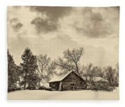 A Winter Sky Sepia Fleece Blanket