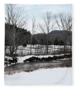 A Wintery Day In Vermont Fleece Blanket