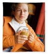 A Woman Enjoys A Warm Cup Of Cocoa Fleece Blanket