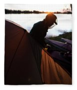 A Woman Exits The Tent At Sunset Fleece Blanket