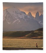 A Woman Explorer, Runs The Shores Fleece Blanket