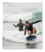A Woman Learns To Surf Fleece Blanket