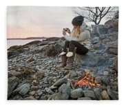 A Woman Takes A Cell Phone Picture Fleece Blanket