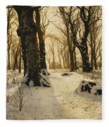 A Wooded Winter Landscape With Deer Fleece Blanket