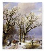 A Wooded Winter Landscape With Figures Fleece Blanket