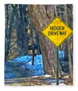 A Yellow Diamond Sign With The Words Hidden Driveway On The Side  Fleece Blanket