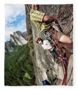 A Young Boy And Climbers In Yosemite Fleece Blanket
