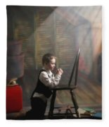 A Young Boy Praying With A Light Beam Fleece Blanket
