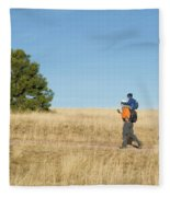 A Young Boy Rides On His Dads Shoulders Fleece Blanket