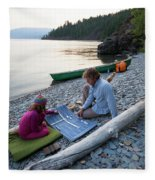 A Young Girl And Her Dad Enjoying Camp Fleece Blanket