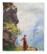 A Young Girl By A Fjord Fleece Blanket