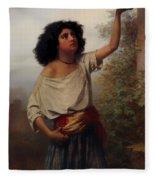 A Young Gypsy Woman With Tambourine  Fleece Blanket