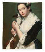 A Young Lady With Two Dogs Fleece Blanket