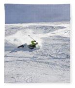 A Young Man Falls While Skiing Fleece Blanket