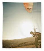 A Young Man Launches His Paraglider Fleece Blanket