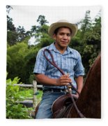 A Young Man Sits On A Horse And Smiles Fleece Blanket