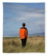 A Young Man Stands In A Field Fleece Blanket
