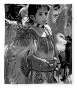 A Young Warrior - B W Fleece Blanket