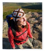 A Young Woman Hiking On Cadillac Fleece Blanket