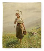 A Young Woman In The Meadow Fleece Blanket