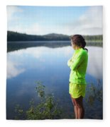 A Young Woman Looks Out Over Unna Lake Fleece Blanket