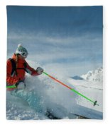 A Young Woman Skis The Backcountry Fleece Blanket