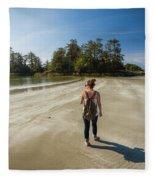 A Young Woman Walks Towards Frank Fleece Blanket