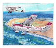 Cessna 206 And A1a Husky Fleece Blanket