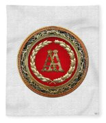 Aa Initials - Gold Antique Monogram On White Leather Fleece Blanket