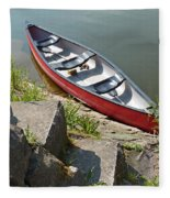 Abandoned Boat At The Quay Fleece Blanket