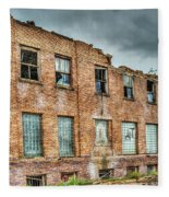 Abandoned Brick Building Fleece Blanket