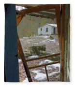 Abandoned Cabin Elkmont Smoky Mountains - Screened Door Old House Fleece Blanket