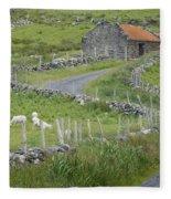 Abandoned Farm Building Fleece Blanket