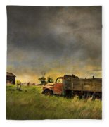 Abandoned Farm Truck Fleece Blanket