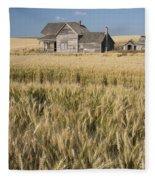 Abandoned Farmhouse In Wheat Field Fleece Blanket