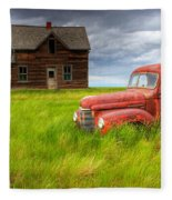 Abandoned Homestead House And Red Fleece Blanket