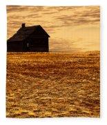 Abandoned Homestead Series Golden Sunset Fleece Blanket