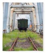 Abandoned Industrial Dock Fleece Blanket