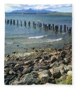 Abandoned Old Pier In Puerto Natales Chile Fleece Blanket