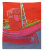 Abandoned Red Fishing Trawler Fleece Blanket