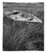 Abandoned Row Boat Along The Shoreline On Prince Edward Island Fleece Blanket
