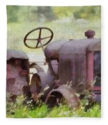 Abandoned Tractor On The Farm Fleece Blanket