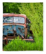 Abandoned Truck In Rural Michigan Fleece Blanket