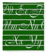 Abc 123 Green Fleece Blanket