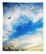 Above The Clouds - American Bald Eagle Art Painting Fleece Blanket